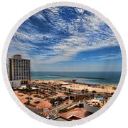 Tel Aviv Summer Time Round Beach Towel by Ron Shoshani