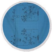 Telegraph Blueprint Patent Round Beach Towel