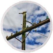 Telegraph Pole - Yesterdays Technology Round Beach Towel