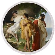 Telemachus And Eucharis Round Beach Towel