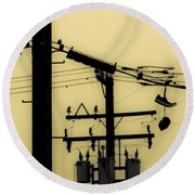 Telephone Pole And Sneakers 5 Round Beach Towel by Scott Campbell