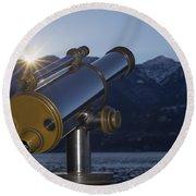 Telescope And Sunrise Round Beach Towel