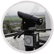 Telescope Near The Entrance Of Stirling Castle Round Beach Towel