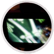 Television And Light  Round Beach Towel