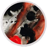 Tempest - Red And Black Painting Round Beach Towel