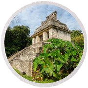 Temple And Foliage Round Beach Towel