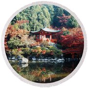 Temple Behind A Pond, Daigo-ji Temple Round Beach Towel