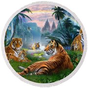 Temple Lake Tigers Round Beach Towel