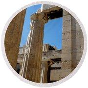 Temple Maze Of Columns Round Beach Towel