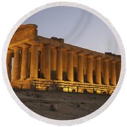 Temple Of Concordia In The Valley Of Round Beach Towel