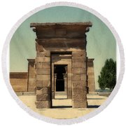 Temple Of Debod Round Beach Towel