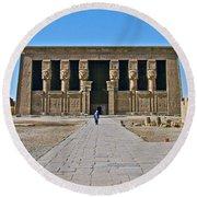 Temple Of Hathor Near Dendera-egypt Round Beach Towel by Ruth Hager
