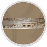 Temple Of Hatsepsut In Egypt Round Beach Towel