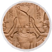 Temple Of Horus Relief Round Beach Towel by Stephen & Donna O'Meara