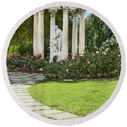 Temple Of Love Statue At The Rose Garden Of The Huntington. Round Beach Towel