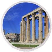 Temple Of Olympian Zeus Athens Greece Round Beach Towel