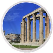 Temple Of Olympian Zeus Athens Greece Round Beach Towel