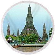 Temple Of The Dawn-wat Arun From Waterways Of Bangkok-thailand Round Beach Towel