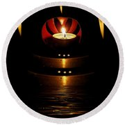 Temple Of The Light Round Beach Towel