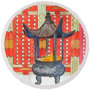 Temple Offerings Round Beach Towel