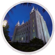 Temple Perspective Round Beach Towel by Chad Dutson