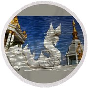 Temple Reflection Round Beach Towel
