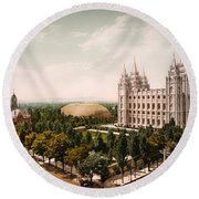 Temple Square Salt Lake City 1899 Round Beach Towel