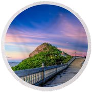 Temple Sunset Round Beach Towel
