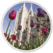 Temple Tulips Round Beach Towel by Chad Dutson