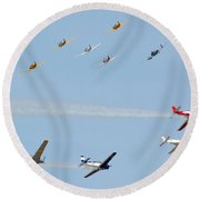 Ten Warbird Flyby Round Beach Towel