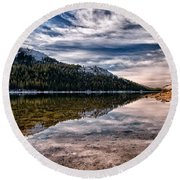 Tenaya Lake Reflections Round Beach Towel
