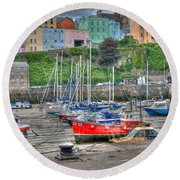Tenby Harbour In Summer 4 Round Beach Towel