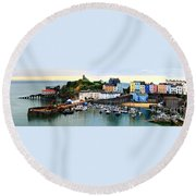 Tenby Harbour Panorama Round Beach Towel