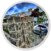 Tenby Lobster Traps Round Beach Towel