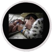 Tender Moments Round Beach Towel