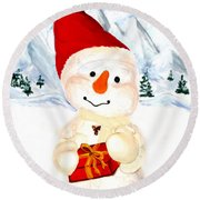 Tender Snowman Round Beach Towel