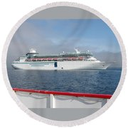 Tendered Ship Round Beach Towel