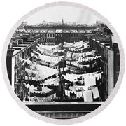 Tenement Housing Laundry Round Beach Towel