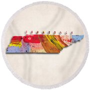 Tennessee Map Art - Painted Map Of Tennessee Round Beach Towel
