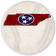 Tennessee Map Art With Flag Design Round Beach Towel