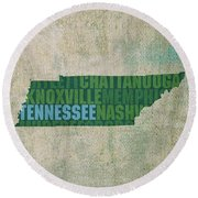 Tennessee Word Art State Map On Canvas Round Beach Towel by Design Turnpike