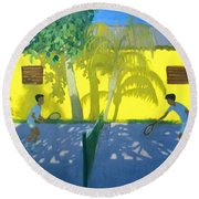 Tennis  Cuba Round Beach Towel by Andrew Macara