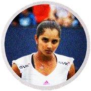 Tennis Player Sania Mirza Round Beach Towel by Nishanth Gopinathan