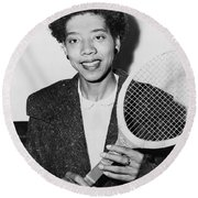 Tennis Star Althea Gibson Round Beach Towel