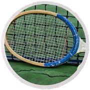 Tennis - Vintage Tennis Racquet Round Beach Towel