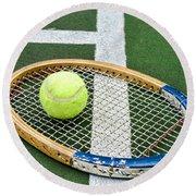 Tennis - Wooden Tennis Racquet Round Beach Towel by Paul Ward