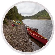 Tents And Canoes At Mcquesten River Yukon Canada Round Beach Towel