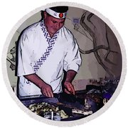 Teppanyaki Cooking  Round Beach Towel
