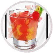 Tequila Sunrise Cocktail Marker Sketch Round Beach Towel