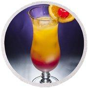 Tequila Sunrise Cocktail Round Beach Towel